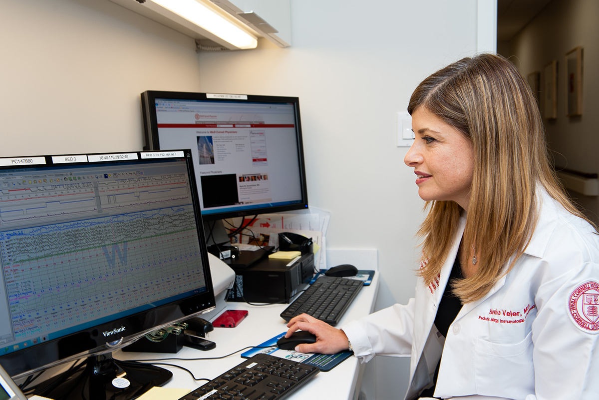 Weill Cornell Medicine's Dr. Haviva Veler reviewing sleep study data